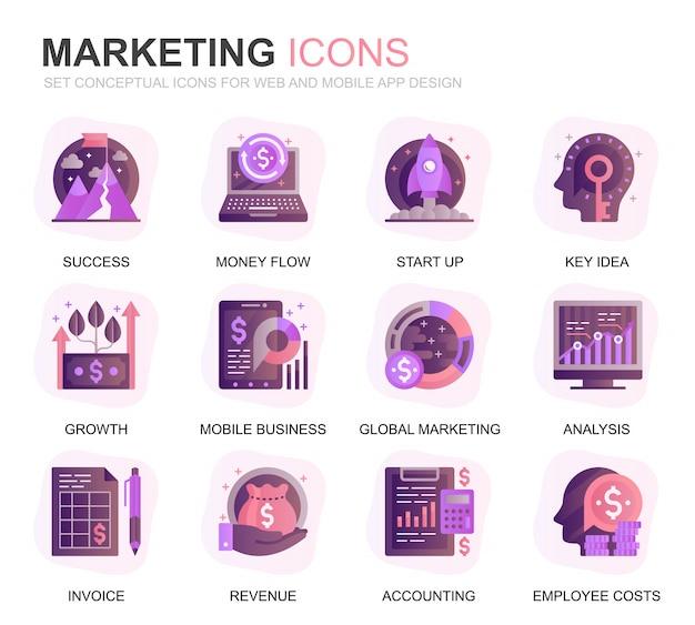 Conjunto moderno de negócios e marketing ícones planas gradientes