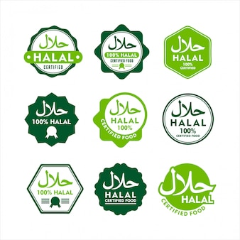 Conjunto moderno de rótulo de comida halal