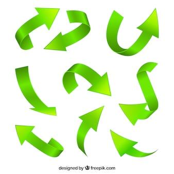 Conjunto moderno de setas verdes