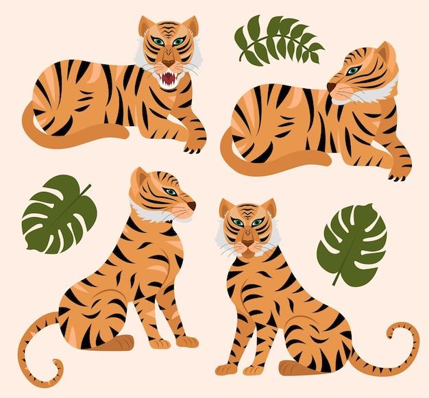 Conjunto moderno de tigre e folhas tropicais. ano do ano novo chinês tigre 2022. ilustração em vetor.