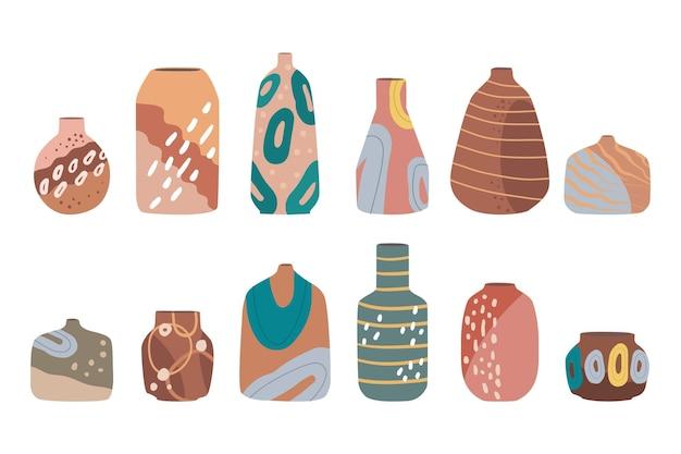 Conjunto moderno de vasos de cerâmica, jarras, potes. conjunto de cerâmicas para decoração de casa.