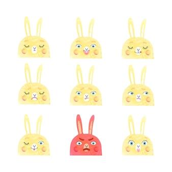 Conjunto moderno de vetores com lindas ilustrações de coelhos com emoções diferentes