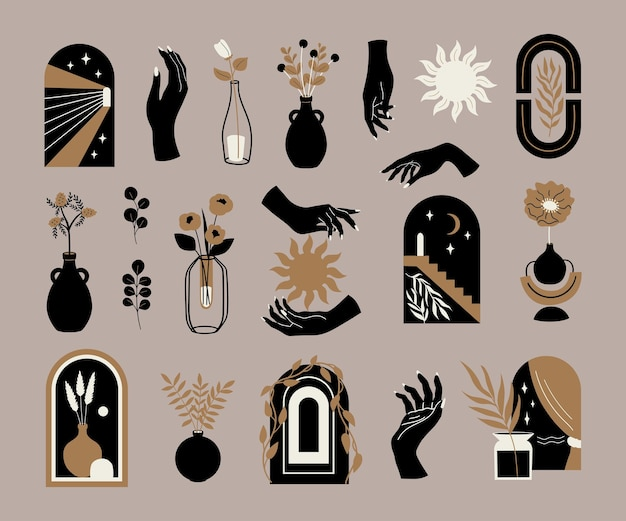Conjunto moderno e minimalista de vetor ilustração estética abstrata e arte contemporânea boêmia