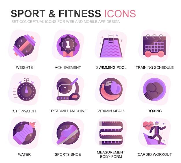 Conjunto moderno esporte e fitness plano de ícones de gradiente