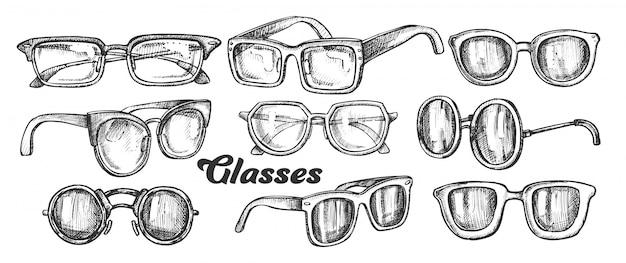 Conjunto monocromático de acessório de moda de óculos