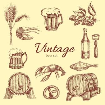 Conjunto monocromático de cerveja vintage