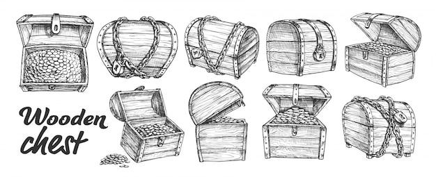Conjunto monocromático de coleção de baú do tesouro