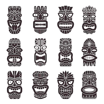 Conjunto monocromático de deus tribal tiki