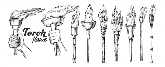 Conjunto monocromático de tocha queima coleção