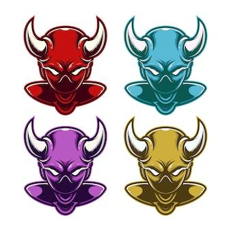 Conjunto monstro alienígena cabeça mascote logotipo esporte com chifres.