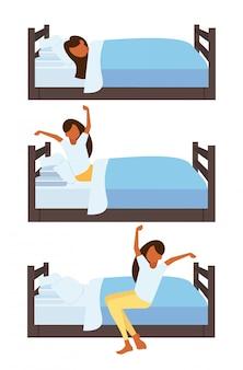 Conjunto mulher dormindo esticando os braços acordando de manhã jovem na cama personagem de desenho animado feminino poses diferentes coleção vertical