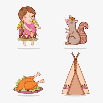 Conjunto mulher indígena e esquilo com comida de peru
