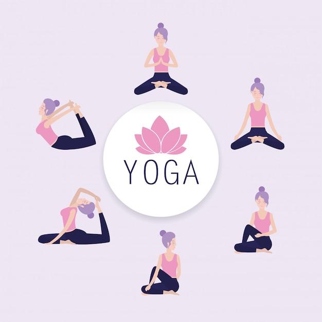 Conjunto, mulher, prática, ioga, equilíbrio