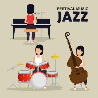 Conjunto mulher tocar instrumentos musicais