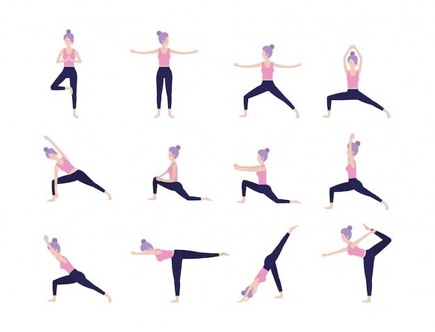 Conjunto, mulher, treinamento, ioga, espiritual, pose