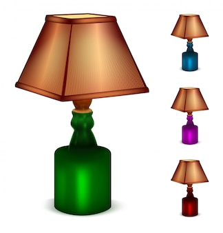 Conjunto multicolor de candeeiros de mesa