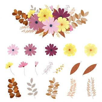 Conjunto multicolorido de flores e folhas,