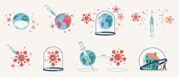 Conjunto mundial de injeções de coronavírus em quarentena