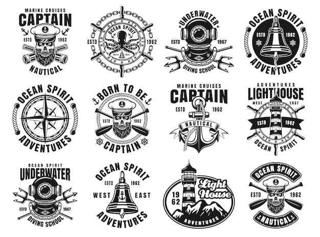 Conjunto náutico de doze emblemas, etiquetas, emblemas ou logotipos de vetor em estilo vintage monocromático isolado no fundo branco.