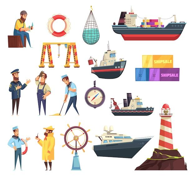 Conjunto náutico de marinheiros e navios