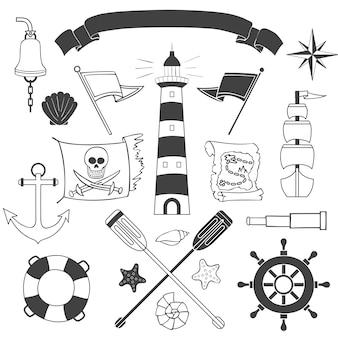 Conjunto náutico e marinho