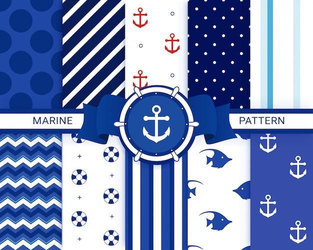 Conjunto náutico, marinho padrão sem emenda. padrões de âncora.