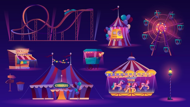 Conjunto noturno de parque de diversões carrossel de corrida em vetor roda gigante, grande tenda de circo, montanha-russa