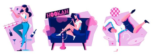 Conjunto noturno de três ilustrações com pessoas bebendo bebidas alcoólicas, dançando e fumando narguilé