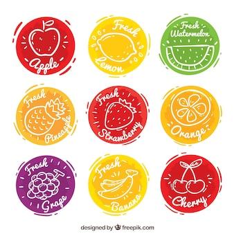 Conjunto, nove, colorido, fruta, suco, etiquetas
