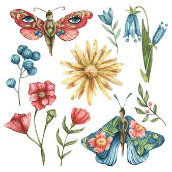 Conjunto oculto em aquarela. ilustração de borboletas-meninas, flores, galhos, folhas, bagas, lua, nuvem, estrelas da noite
