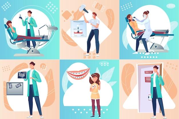Conjunto odontológico de composições quadradas com imagens planas de aparelhos de cirurgiões dentistas e personagens de dentistas