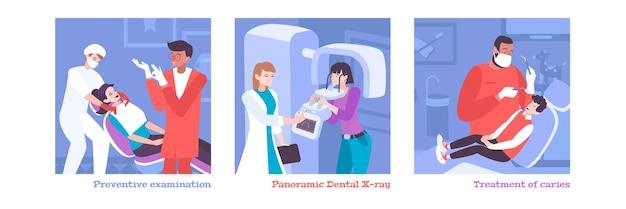 Conjunto odontológico de dentistas planos de personagens humanos com ilustração de pacientes
