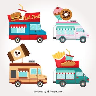 Conjunto original de caminhões de comida lisa