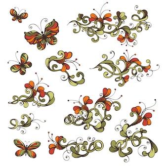 Conjunto ornamentado de flores e borboletas