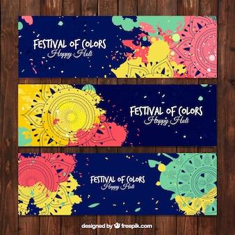 Conjunto ornamental com mandalas de festival de holi
