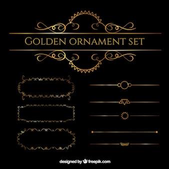 Conjunto ornamento dourado