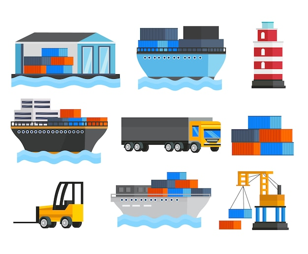 Conjunto ortogonal de porto marítimo