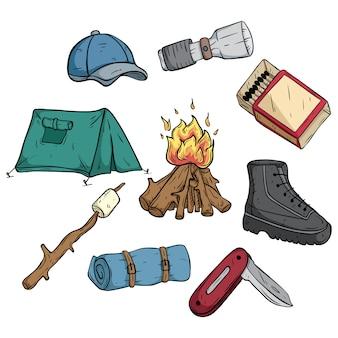 Conjunto ou coleção de ícones ou elementos de acampamento com cores e contornos