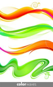 Conjunto ou ondas coloridas