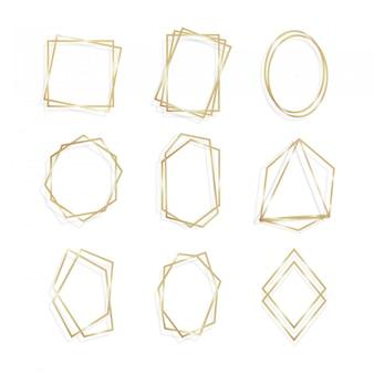 Conjunto ouro da arte de linha geométrica poliedro quadro