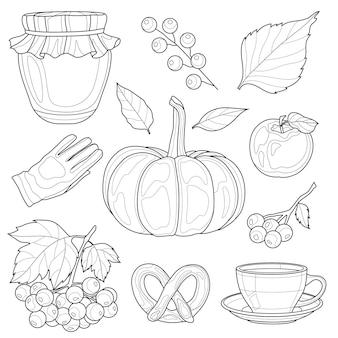 Conjunto outono preto e branco. livro para colorir anti-stress para crianças e adultos