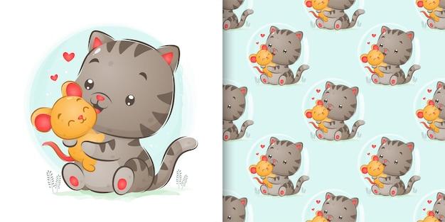 Conjunto padrão de mouse brincando com gato grande na ilustração de aquarela