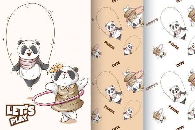 Conjunto padrão de panda bonito