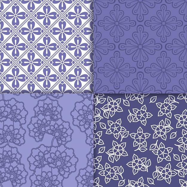 Conjunto padrão de papel de parede floral violeta e branco