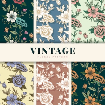 Conjunto padrão floral vintage