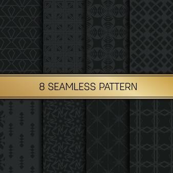 Conjunto padrão geométrico monocromático.