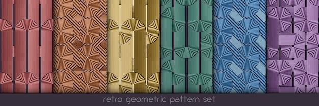Conjunto padrão geométrico sem emenda. vector repetindo texturas. impressão simples geométrica.