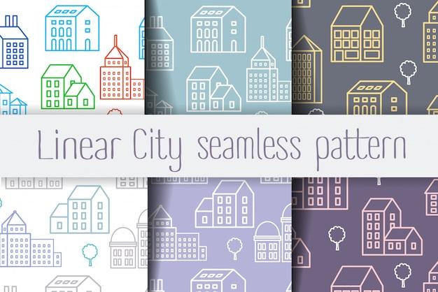 Conjunto padrão linear de repetição sem emenda de edifícios urbanos e estruturas