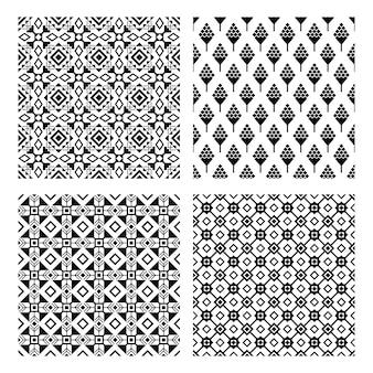 Conjunto padrão preto sem costura tribal
