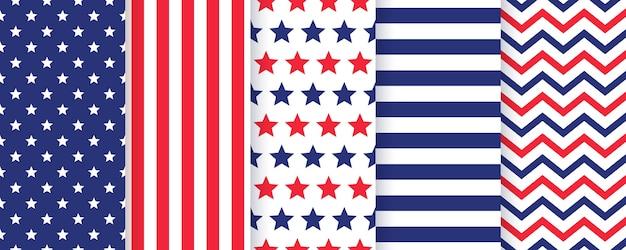 Conjunto padrão sem emenda de 4 de julho. conjunto de texturas patrióticas americanas.